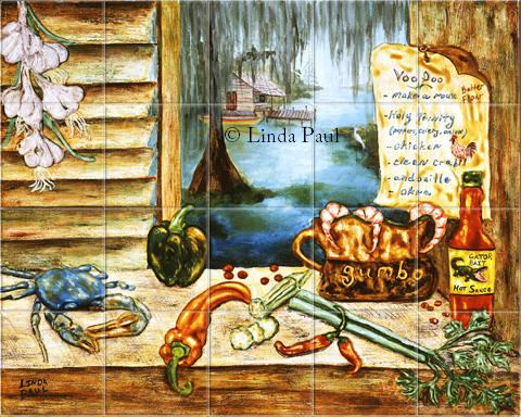 Louisiana kitchen tile backsplash cajun art tiles for Art deco tile mural