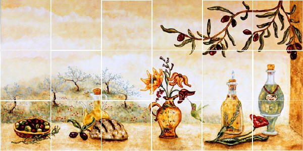 Olive tile wall mural