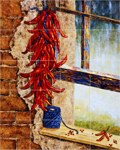Chili pepper tiles red peppers tile mural kitchen backsplash for Decorative tile mural