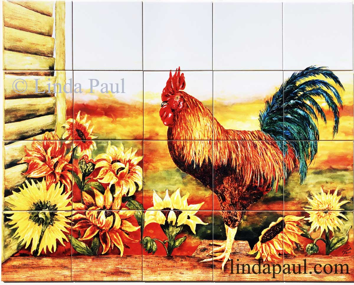 Rooster Kitchen Decor Backsplash With Sunflowers Tile Murals Of Roosters