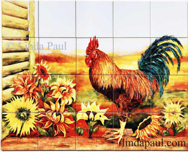 rooster sunflowers tile mural