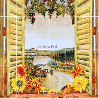 mural with sunflowers and vineyard