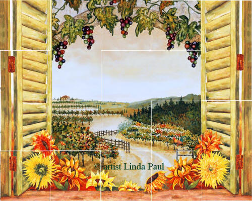 Sunflowers Vineyard Backsplash Tile Mural For Country Kitchens