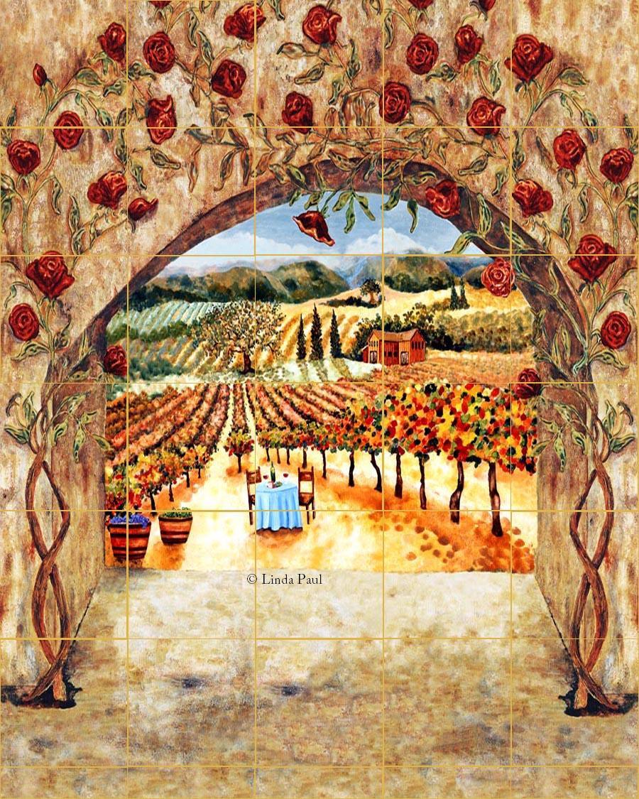 Tile Art Italian Tiles Of Vineyard Roses Backsplash Tiles