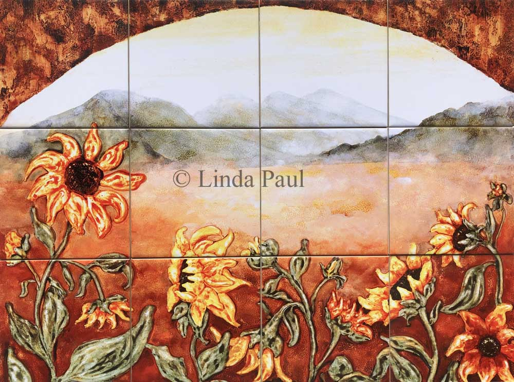 Sunflower kitchen decor tile murals western backsplash for Crossing the shallows tile mural