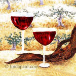 two wine glasses tile