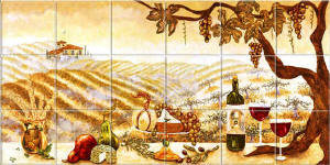 vineyard tile mural for behind stove
