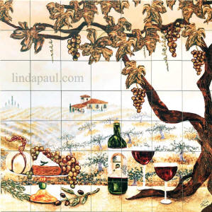 large tile mural wine vineyard