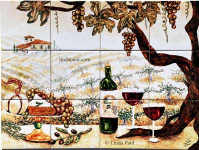 vineyard tile mural 24x18