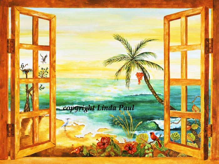 Florida tile mural backsplash tiles palm tree art tiles for Beach mural painting