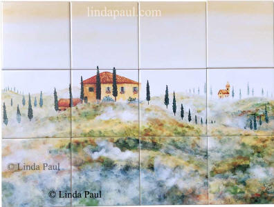 tuscan Arch tile mural 24x18