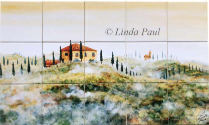 Tuscany tile mural backsplash