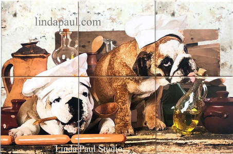 bulldogs in the kitchen  tile mural