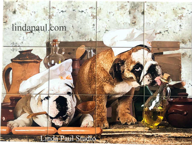 Dogs in the kitchen tile mural