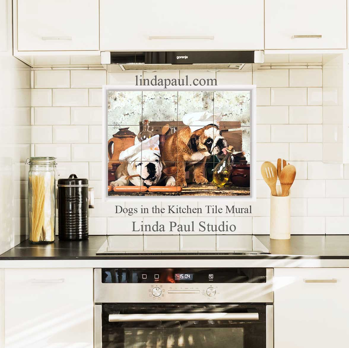 - English Bulldog Kitchen Decor Tile Mural Dog Backsplash Art