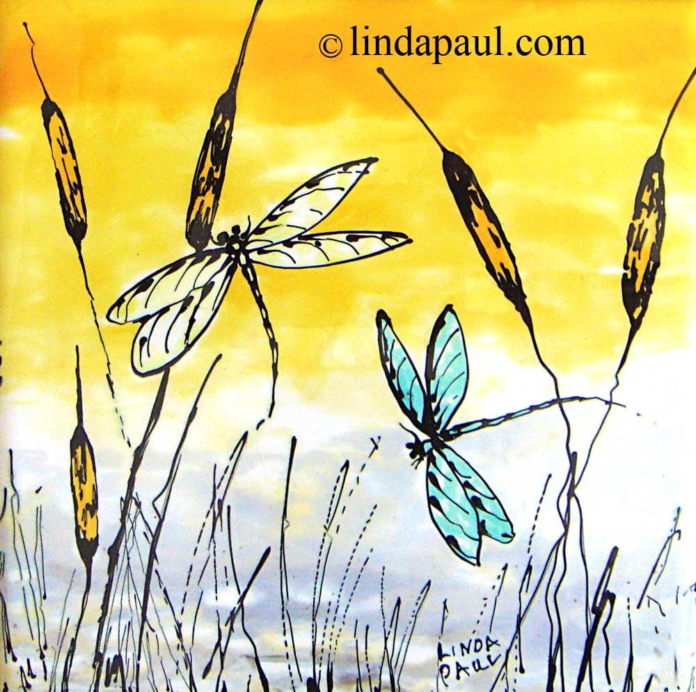 Dragonfly Tiles or Removable Framed Backsplash Art