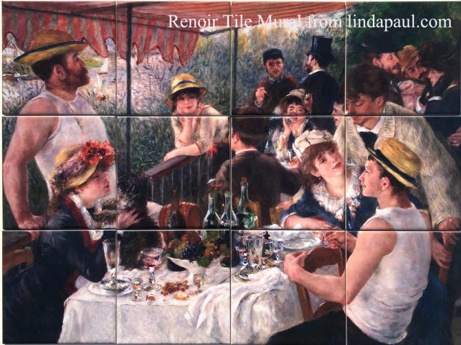 tile mural backsplash Luncheon of the  boating Party Renoir