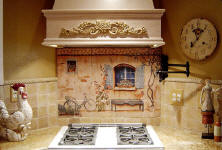 french country house tile mural