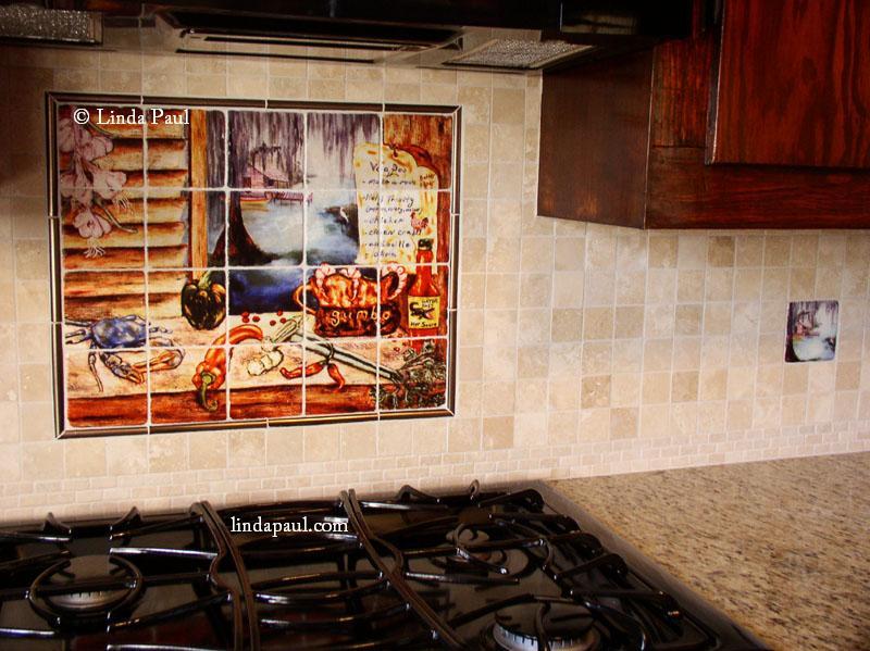 Louisiana bayou art tile backsplash mural for Backsplash mural tiles