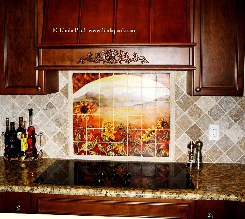 Sunflower kitchen decor tile murals western backsplash for Backsplash mural tile