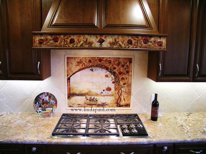 Kitchen backsplash pictures ideas and designs of backsplashes for Ceramic tile mural backsplash