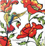poppy hummingbird art nouveau tile