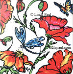 dragonfly poppies butterfly tile accent