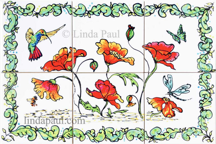 poppy hummingbird tile mural