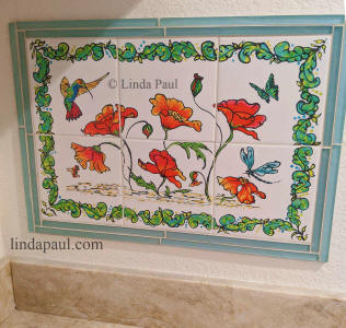 poppies and hummingbird ceramic tile mural