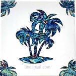 white and blue paua shell palm tree tile